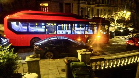 The bus stuck in Belsize Crescent. Picture: David Stark