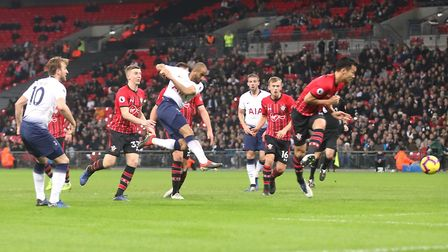 Tottenham Hotspur's Lucas Moura (centre) scores his side's second goal of the game during the Premie