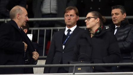 Ralph Hasenhuttl (centre), who will take charge of Southampton on Thursday morning, during the Premi