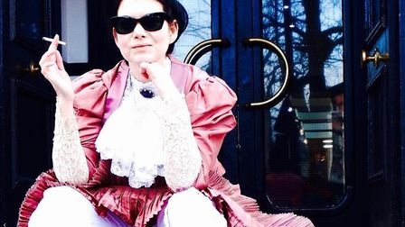 Cathianne Hall dressed as Annie S Swan, and smoking. Picture: Cathianne Hall