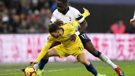 Chelsea's Mateo Kovacic (front) and Tottenham Hotspur's Moussa Sissoko battle for the ball (pic John