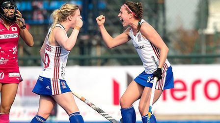 Amy Costello (right) celebrates her goal with GB captain Hollie Pearne-Webb at the Champions Trophy