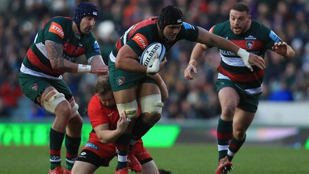 Leicester Tigers' Sione Kalamafoni is tackled by Saracens' Christian Judge (pic Mike Egerton/PA)