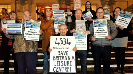 Save Britannia Leisure Centre campaigners on the steps of Hackney Town Hal. Photo by Polly Hancock