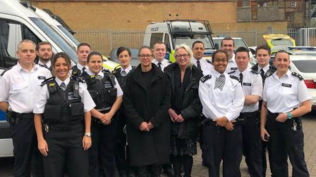 Inspector Victoria Kneale and officers with representatives of Mind in Haringey. Picture: Haringey P