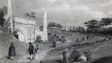 An etching showing the entrance to the catacombs at Highgate Cemetery. Picture: Camden Local Studies