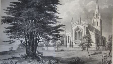 An drawing of St Michael's Church and the Cedar of Lebanon from around 1832, before the cemetery exi