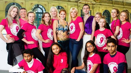 The cast of Ally Pally's pantomime pose with Lindsey Wylie and Alexandra Wylie Tower Foundation patr