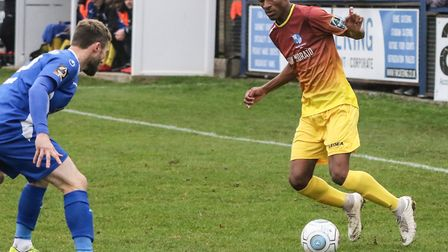 Barnet defender Loic Hernandez in action for loan club Wingate & Finchley at Margate (pic: Martin Ad