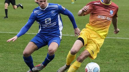 Rob Laney looks to keep the ball for Wingate & Finchley at Margate (pic: Martin Addison).