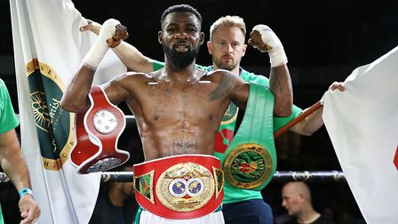Larry Ekundayo celebrates winning the IBF European welterweight title in July (pic: Natalie Mayhew/B