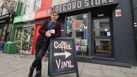 Deniz Korkmaz outside Let It Roll Records, 121 Kentish Town Road NW5