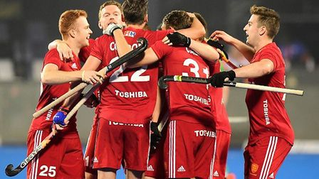 England players celebrate a goal (pic England Hockey)