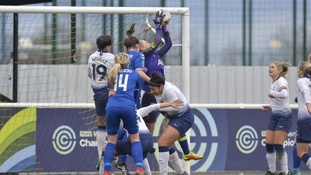 Tottenham Hotspur Ladies' goalkeeper Emma Gibbon claims a cross (pic: Wu's Photography).