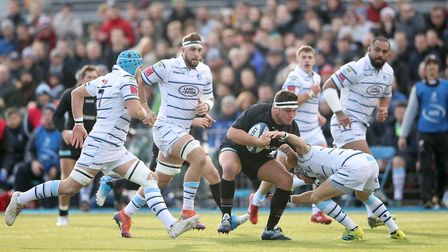 Jamie George of Saracens carries the ball forward against Cardiff Blues (pic: Adam Davy/PA)