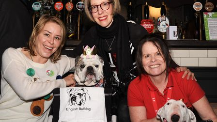Christiana Hines, Stacey James and De Randall at the Hampstead Hounds bulldog fundraiser. Picture: M