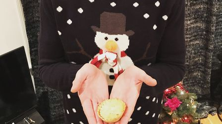 Padraig 'Pod' Howard and a mince pie, during his odyssey of eating just the festive baked goods betw