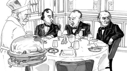 Disraeli Churchill and glastone with carver Carlie Brown