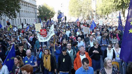 Anti-Brexit campaigners take part in the 'People's Vote March' for the Future earlier this year. Pic