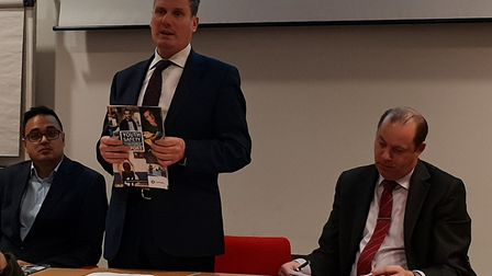 Sir Keir Starmer presenting the Youth Safety Taskforce Report at the British Library, alongside Cllr