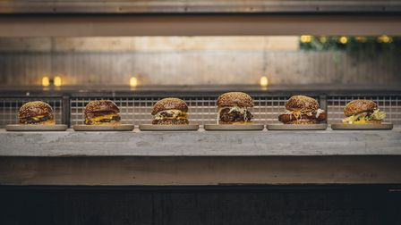 A delicious line-up of patties awaits. Picture: Burger & Beyond.