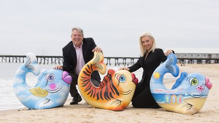 Danny Steel and Ann-Marie Doggett at the launch of last year's Lowestoft summer fish trail. Picture: