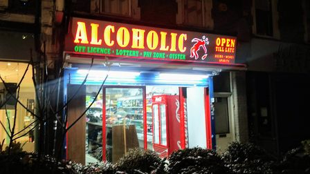 The new 'Alcoholic' sign at a Middle Lane off-licence in Hornsey. Picture: Sam Volpe