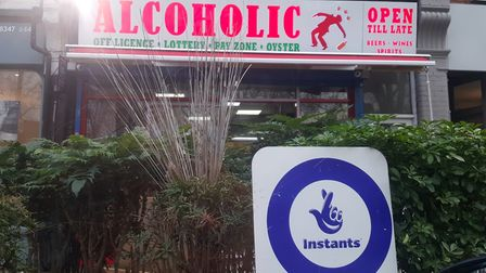 The new 'Alcoholic' sign at a Middle Lane off-licence in Hornsey. Picture: Rachel Oakes