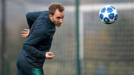 Tottenham Hotspur's Christian Eriksen during a training session at Enfield Training Ground (pic John