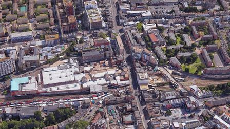 An aerial view of Dalston, with Ridley Road's stalls visible going left from the centre of the image