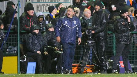 Haringey Borough manager Tom Loizou on the touchline during their FA Cup first round tie with AFC Wi