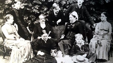 Joseph Beck, chairman of the Clissold Park Preservation Committee, and his family in the garden of t