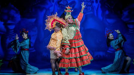 Tameka Empson (The Empress) and Clive Rowe (Widow Twankey) are two stars of the production. Picture