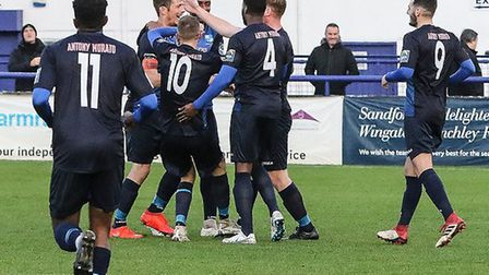 Wingate & Finchley celebrate a goal against Corinthian-Casuals (pic: Martin Addison/PA Images).