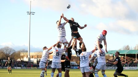 Saracens and Cardiff Blues compete for a line out during the Heineken European Champions Cup, pool t
