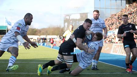 Saracens' Ben Earl gets over the line to score a try against Cardiff Blues (pic: Adam Davy/PA)