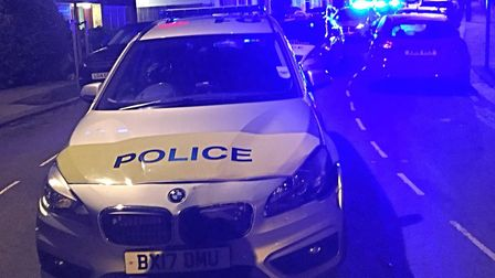 A police car after being rammed in Camden. Picture: Camden Police