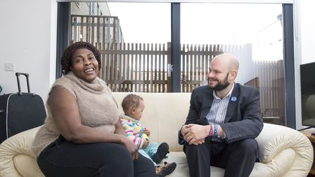 Mayor Philip Glanville popped down to visit Margaret Bibby with her son Prince. Picture: John Macdon