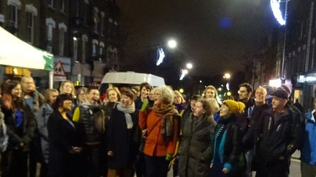Hackney Singers, who sang a tradiitonal wassailing song and other songs. Picture: Ian Rathbone