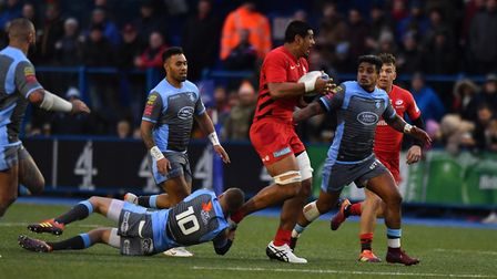 Will Skelton carries the ball forward for Saracens against Cardiff Blues (pic: Simon Galloway/PA)