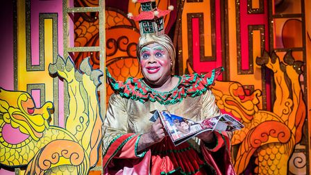 Olivier Award-winner Clive Rowe appears as the Dame in Hackney Empire's Aladdin. Picture: Robert Wor