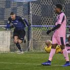 Rob Laney celebrates after scoring for Wingate & Finchley against Dulwich Hamlet (pic: Martin Addiso
