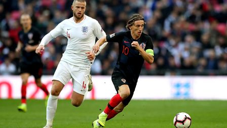 England's Eric Dier (left) and Croatia's Luka Modric during the UEFA Nations League match at Wembley