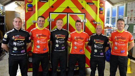 The firefighters from Wrentham Fire Station are pictured as they prepare for the ride. Picture: Cour