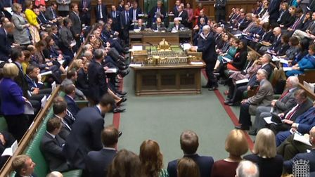 Labour party leader Jeremy Corbyn speaks during Prime Minister's Questions. Photograph: PA Wire.