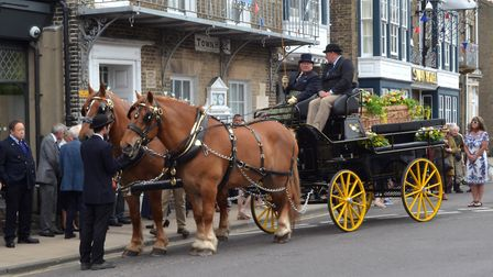 Hundreds gathered for the procession and funeral of former Southwold mayor Sue Allen. Photo: Mick Ho