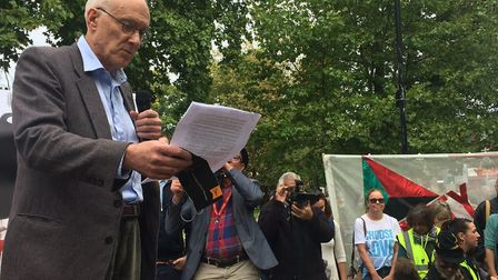 Highgate councillor Clive Carter addresses the crowd at a rally before a protest against the Haringe