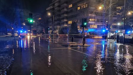 Primrose Hill under water after a water main broke. Picture: Camden Police