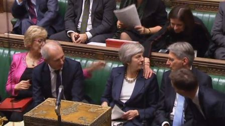 Prime Minister Theresa May is congratulated by ministers and Conservative MPs in the House of Common