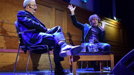 Harry Enfield and Stephen Mangan in conversation at Cecil Sharp House 15.01.19.